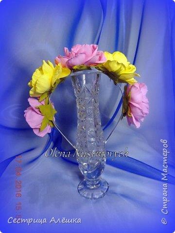 Доброго времени суток!!!  Ободок с нежными розами и фантазийными цветами сделан на заказ. фото 10