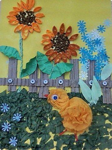 Солнышки на шпажках украшают цветочные горшки. фото 6