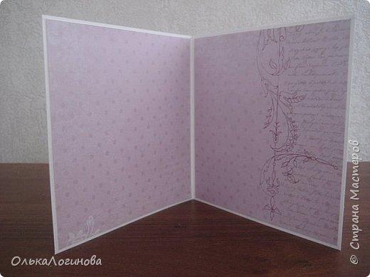 """Здравствуй,Страна!Бродила я,бродила в поисках вдохновения,вязала,но чего-то все не то было..а тут вспомнилось мне,что у мамы то моей на днях день рождения,а она у меня без открытки..встряхнула хомячьи запасы и вместо одной получилось сразу три)))но мамина самая первая)основа всех открыток-акварельная бумага,верх и внутри-бумага для скрапбукинга ScrapBerry's,коллекции """"Ромео и Джульетта"""",""""Бабочки"""",цветочки-лилии,магнолии,гардении,кружево трех видов,атласные и кружевные ленточки,вощеный шнур,пуговички,полубусины,несколько видов тычинок.Приятного просмотра))) фото 4"""