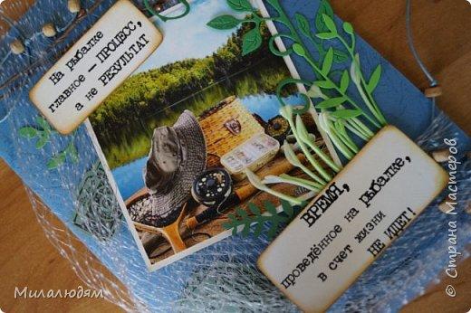Всем здравствуйте и не болейте! Я сегодня к вам с открыточкой для любимого сыночка, любителя рыбалки. У него скоро  день рождения. И пока было немного времени, я ее собрала. фото 17