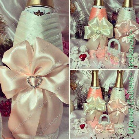 Вот вдохновилась желанием невесты и сделала желаемое для нее В набор входдят: очаг из 3-х свечей,бокалы,оформленные бутылочки,замочек и подушечка для колец фото 4