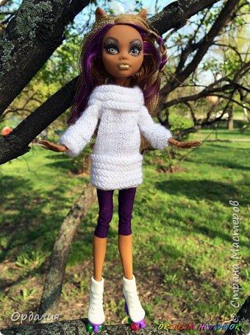 Вот такой простой и ужасно милый свитерочек связался, из всех кукол симпатичнее всего сидит на Клодинке - эффектно из-за ее шоколадной кожи. Вообще люблю фотографировать эту девочку, всегда фотографии получаются. На днях покажу еще фотосессию с оранжевым ярким свитерком. фото 4