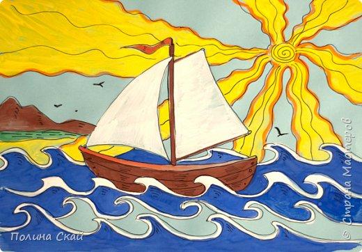 Рисование для детей. Кораблик на волнах