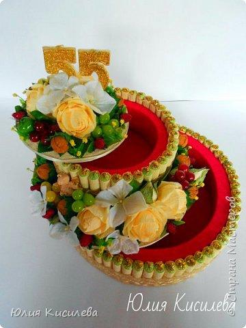 Торт из конфет на юбилей. Конфеты Roshen Konafetto, в розочках АВК Трюфель Оригинальный. фото 2