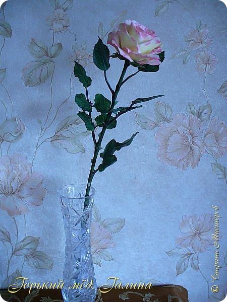 Всем доброго времени суток!) Сегодня я с очередными розами, фотографий много). Хотелось показать со всех ракурсов очередные творения очумелых ручек)  Белая роза. На самом деле она не совсем белая, добавила к белилам совсем капельку лимонно-желтого для еле заметного оттенка. Если лепить только с белилами получается не естественный цвет. Общая высота примерно 58 см, форма бутона - полураскрытый.  фото 14