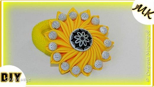 Солнечный бантик с бусинами фото 1
