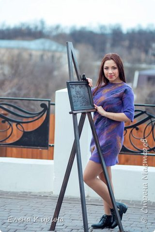 """Валяное платье """"Фиалковый бунт"""" фото 2"""