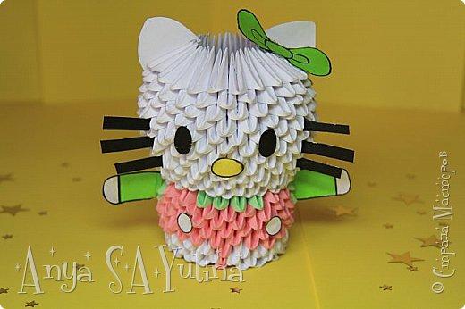 Здравствуйте) Сейчас я вам расскажу и покажу, как делать эту Hello Kitty техникой модульное оригами. Чтобы посмотреть урок, спуститесь чуть ниже по странице:) фото 1