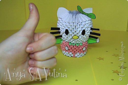 Здравствуйте) Сейчас я вам расскажу и покажу, как делать эту Hello Kitty техникой модульное оригами. Чтобы посмотреть урок, спуститесь чуть ниже по странице:) фото 4