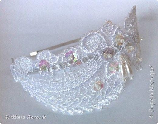 Нежный ободок для невесты из кружева своими руками фото 1