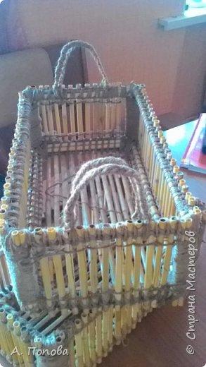 Ящички-коробочки из камыша.  Шпагат льняной, клей пва, лак. фото 2