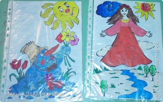 Снеговик сделан мной. А Девушка-Весна дочкой. Снеговик,солнце, весна из пластилина, облако ватный диск. Все остальное карандаши, фломастеры, краска. фото 1