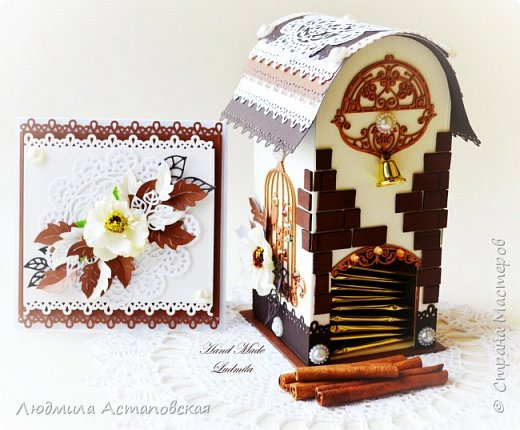 """Желаю всем """"Уютного чаепития""""! Вот такой подарочный набор, который состоит из Чайного домика и открыточки был сделан для одной очень хорошей девушки) Домик сделан с """"нуля"""" из плотного картона) фото 1"""