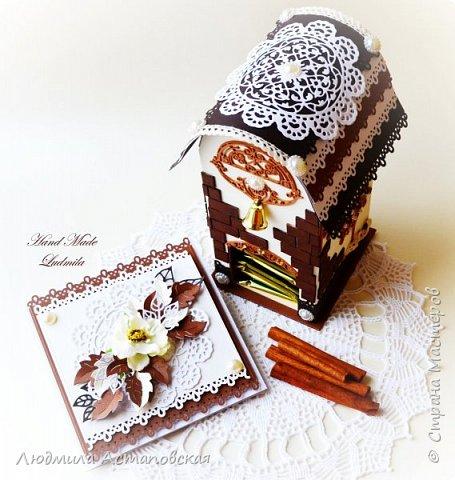 """Желаю всем """"Уютного чаепития""""! Вот такой подарочный набор, который состоит из Чайного домика и открыточки был сделан для одной очень хорошей девушки) Домик сделан с """"нуля"""" из плотного картона) фото 2"""