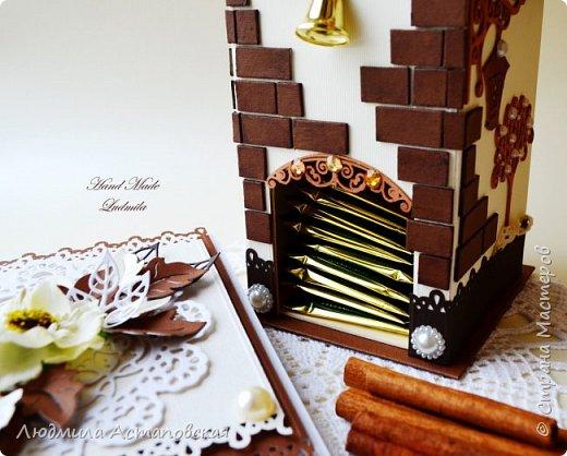 """Желаю всем """"Уютного чаепития""""! Вот такой подарочный набор, который состоит из Чайного домика и открыточки был сделан для одной очень хорошей девушки) Домик сделан с """"нуля"""" из плотного картона) фото 4"""