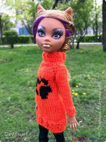 Самая благодарная из моделей -а их у меня 26 штук) Как ни поверни - фото удаётся. Сегодня у нас на фотосессии яркий оранжевый свитер с рисунком. фото 1