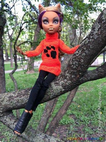 Самая благодарная из моделей -а их у меня 26 штук) Как ни поверни - фото удаётся. Сегодня у нас на фотосессии яркий оранжевый свитер с рисунком. фото 8