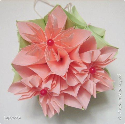 Всем доброго времени суток! Очень рада всем заглянувшим в гости! Букетик у меня сегодня не совсем обычный, каждый цветок это вариация классической цветочной  кусудамы Mio Tsugawa.  фото 15