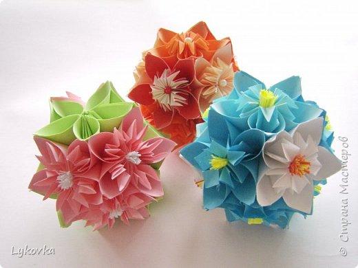 Всем доброго времени суток! Очень рада всем заглянувшим в гости! Букетик у меня сегодня не совсем обычный, каждый цветок это вариация классической цветочной  кусудамы Mio Tsugawa.  фото 14