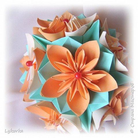 Всем доброго времени суток! Очень рада всем заглянувшим в гости! Букетик у меня сегодня не совсем обычный, каждый цветок это вариация классической цветочной  кусудамы Mio Tsugawa.  фото 11