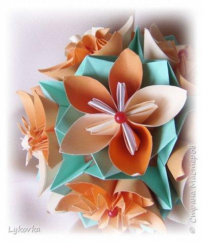 Всем доброго времени суток! Очень рада всем заглянувшим в гости! Букетик у меня сегодня не совсем обычный, каждый цветок это вариация классической цветочной  кусудамы Mio Tsugawa.  фото 10