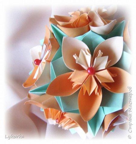 Всем доброго времени суток! Очень рада всем заглянувшим в гости! Букетик у меня сегодня не совсем обычный, каждый цветок это вариация классической цветочной  кусудамы Mio Tsugawa.  фото 7