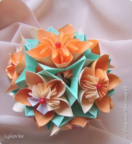Всем доброго времени суток! Очень рада всем заглянувшим в гости! Букетик у меня сегодня не совсем обычный, каждый цветок это вариация классической цветочной  кусудамы Mio Tsugawa.  фото 2