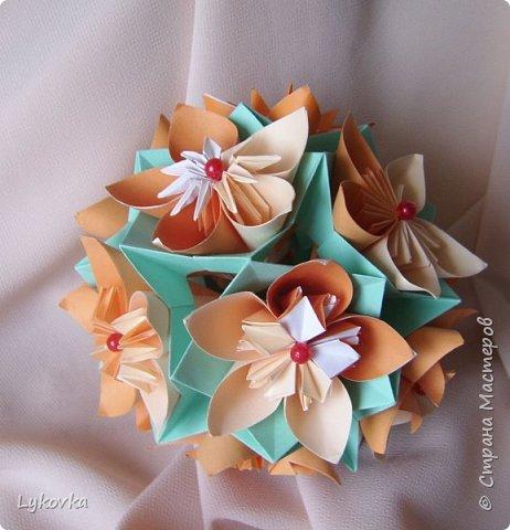Всем доброго времени суток! Очень рада всем заглянувшим в гости! Букетик у меня сегодня не совсем обычный, каждый цветок это вариация классической цветочной  кусудамы Mio Tsugawa.  фото 13