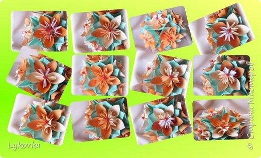 Всем доброго времени суток! Очень рада всем заглянувшим в гости! Букетик у меня сегодня не совсем обычный, каждый цветок это вариация классической цветочной  кусудамы Mio Tsugawa.  фото 1