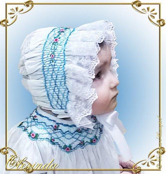 Здравствуйте! Вот такой нарядный чепчик я сшила своей маленькой дочке в дополнение к платьицу из моего предыдущего МК «Платье с вышитыми буфами». Как сделать такой головной убор, смотрите далее.  фото 21
