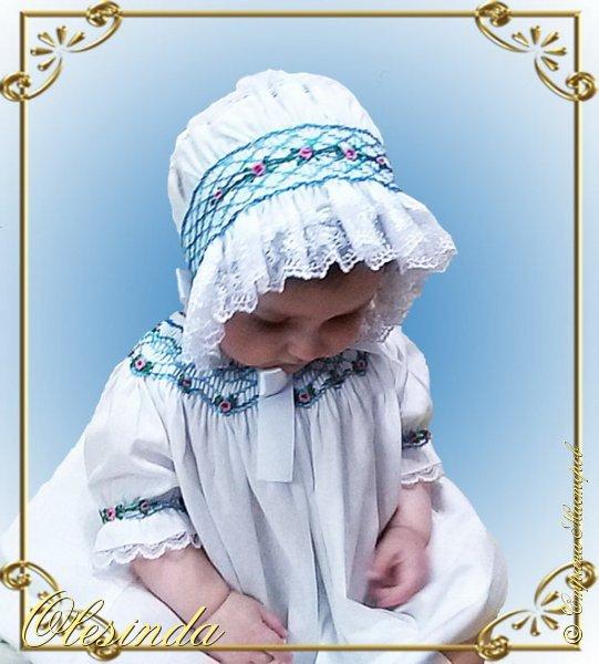 Здравствуйте! Вот такой нарядный чепчик я сшила своей маленькой дочке в дополнение к платьицу из моего предыдущего МК «Платье с вышитыми буфами». Как сделать такой головной убор, смотрите далее.  фото 22
