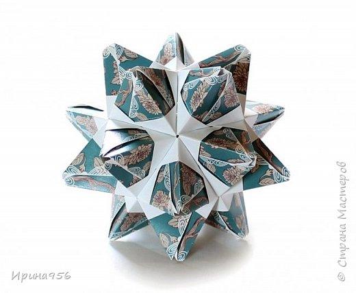 Signum Схема http://www.kusudama.me/origami/Signum#Signum-60-200 60 модулей 5 х 5 см. Размер около 11 см. фото 17
