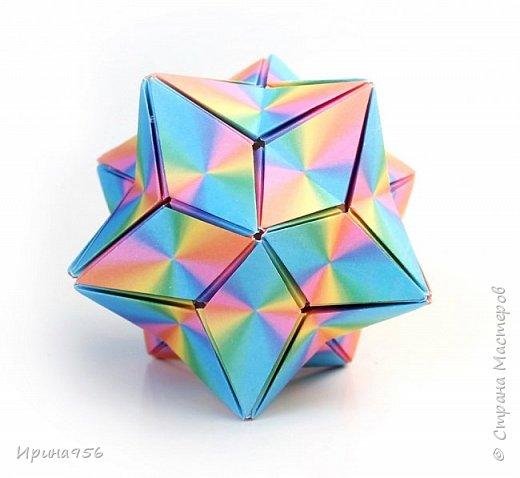 Signum Схема http://www.kusudama.me/origami/Signum#Signum-60-200 60 модулей 5 х 5 см. Размер около 11 см. фото 4