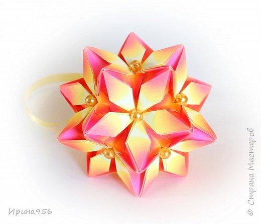 Signum Схема http://www.kusudama.me/origami/Signum#Signum-60-200 60 модулей 5 х 5 см. Размер около 11 см. фото 8