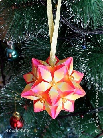 Signum Схема http://www.kusudama.me/origami/Signum#Signum-60-200 60 модулей 5 х 5 см. Размер около 11 см. фото 7
