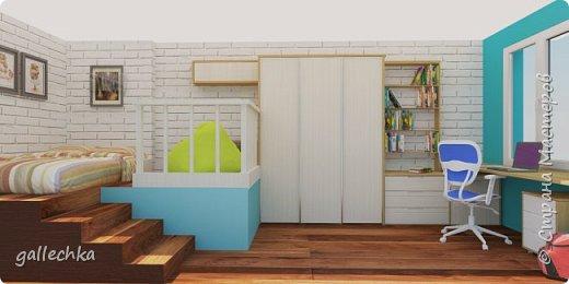 Задача стояла сделать комнату в бело-голубом цвете, обязательное наличие подиума и чтобы небыло кровати, а только матрас. фото 1
