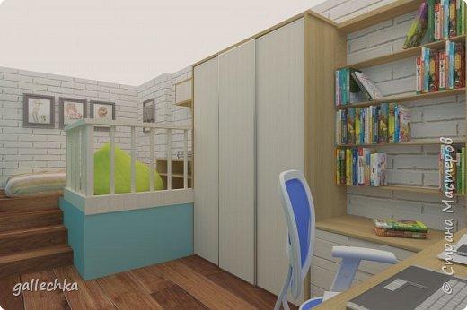Задача стояла сделать комнату в бело-голубом цвете, обязательное наличие подиума и чтобы небыло кровати, а только матрас. фото 2