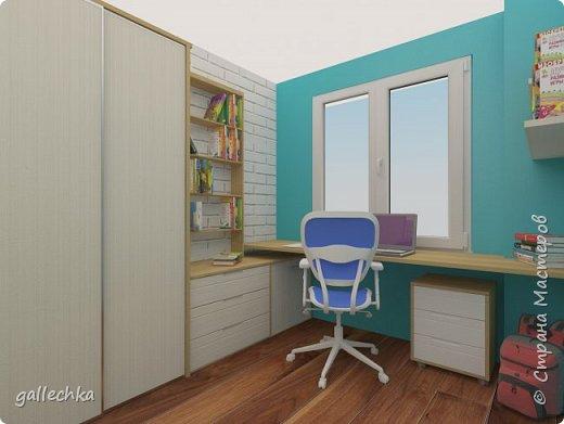 Задача стояла сделать комнату в бело-голубом цвете, обязательное наличие подиума и чтобы небыло кровати, а только матрас. фото 3