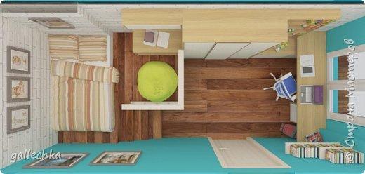 Задача стояла сделать комнату в бело-голубом цвете, обязательное наличие подиума и чтобы небыло кровати, а только матрас. фото 4
