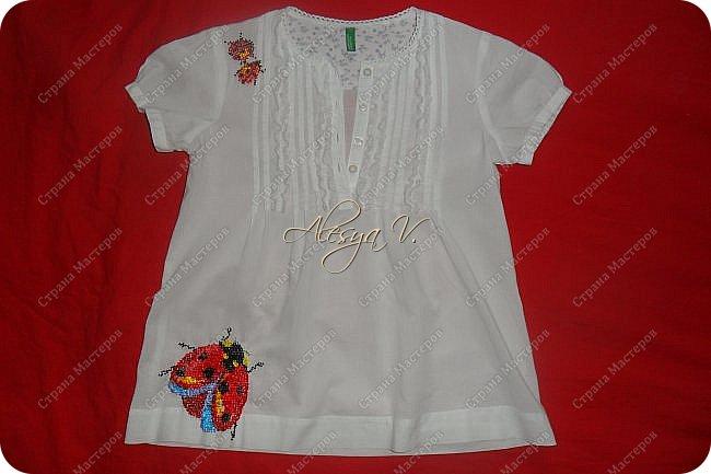 Украсила вышивкой бисером школьную блузку дочке вот такими божьими коровками: фото 2