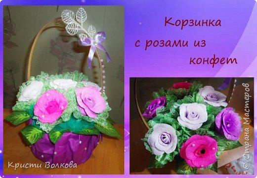 Конфетные корзинки и букеты фото 2