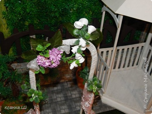 Доброго времени суток, жители Страны Мастеров! Вот сделала давно свадебную беседку с аркой и букетом невесты. Создавала просто вотнемогунужнопрямсрочно. Присоединяйтесь к просмотру, если интересно. фото 4
