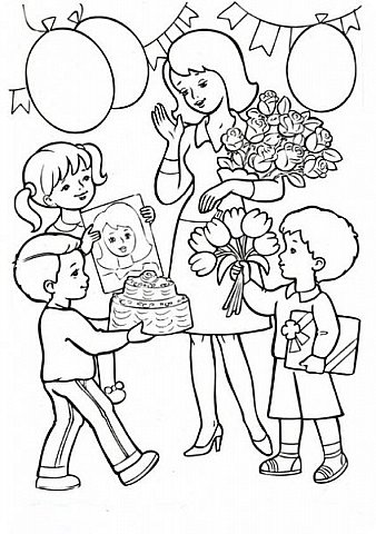 День весенний, Суетливый, День весёлый И красивый — Это мамин день. День торжественный, Парадный, День подарочный, Наградный — Это мамин день! День взволнованный, Прилежный, День цветочный, Добрый, нежный — Это мамин день!  (Михаил Садовский)  Для праздничного оформления окон вырезала портреты мам. Использовала рисунки из детских раскрасок... фото 25