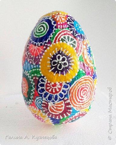 Пасхальное яйцо. Выполнено в технике папье-маше. Расписано акриловыми красками и контуром. Высота - около 13 см. Можно выполнить вместе с детьми.