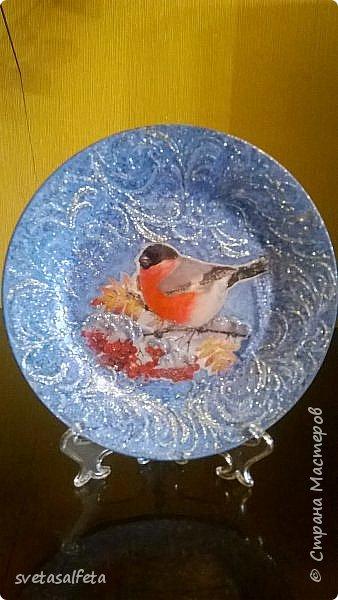 Эту тарелку делала  к Новому году.Тарелка керамика,прямой декупаж салфетки и роспись  акриловыми красками и серебряными глитерами фото 9