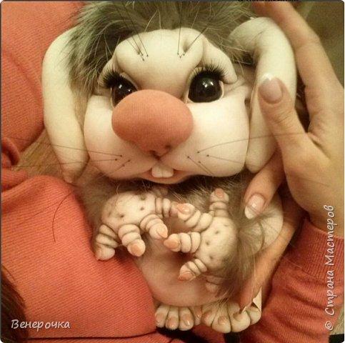 Чудогрызик кукла из капрона и синтепона в технике скульптурный текстиль фото 6
