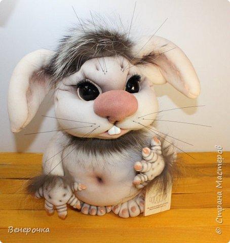 Чудогрызик кукла из капрона и синтепона в технике скульптурный текстиль фото 3