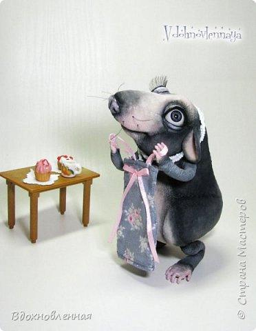 Пришла весна.. Аннушка открыла шкаф с вещами, достала свое любимое платье.. Аннушку ждало разочарование... Так многие из нас встретили весну:-)  Крыса Аннушка  - единственная и неповторимая, очень интересный, многогранный персонаж!  Наверняка, многие могут узнать в этой ситуации себя, когда весной пытались примерить  на себя летние вещи и понимали, что размер любимого платья уже не подходит))  Аннушка пошита по новой авторской выкройке из материала с мелким ворсом - миништофф. Ручки, ножки и хвост имеют проволочный каркас. Платье сшито из хлопковой ткани, украшено атласной лентой. Платье очень красиво блестит, благодаря блесткам! Веки и нос выполнены из натуральной кожи. фото 2