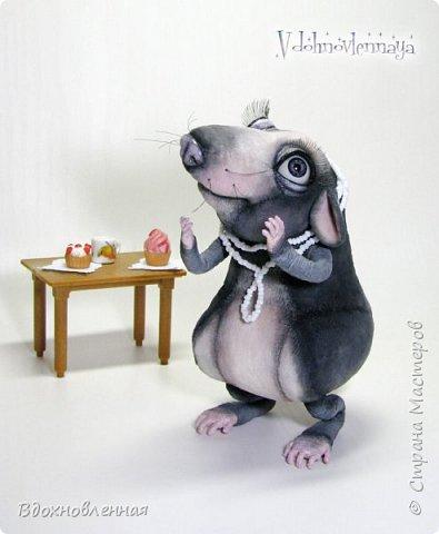 Пришла весна.. Аннушка открыла шкаф с вещами, достала свое любимое платье.. Аннушку ждало разочарование... Так многие из нас встретили весну:-)  Крыса Аннушка  - единственная и неповторимая, очень интересный, многогранный персонаж!  Наверняка, многие могут узнать в этой ситуации себя, когда весной пытались примерить  на себя летние вещи и понимали, что размер любимого платья уже не подходит))  Аннушка пошита по новой авторской выкройке из материала с мелким ворсом - миништофф. Ручки, ножки и хвост имеют проволочный каркас. Платье сшито из хлопковой ткани, украшено атласной лентой. Платье очень красиво блестит, благодаря блесткам! Веки и нос выполнены из натуральной кожи. фото 3