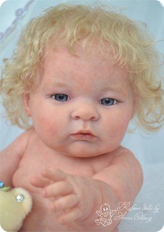 Здравствуйте, девочки-мастерицы!! Рада представить вашему вниманию малышку Лерочку. Рост куколки 35 см, вес около 1 кг. Расписана красками генезис, волосики-мохер, вживлены. фото 8